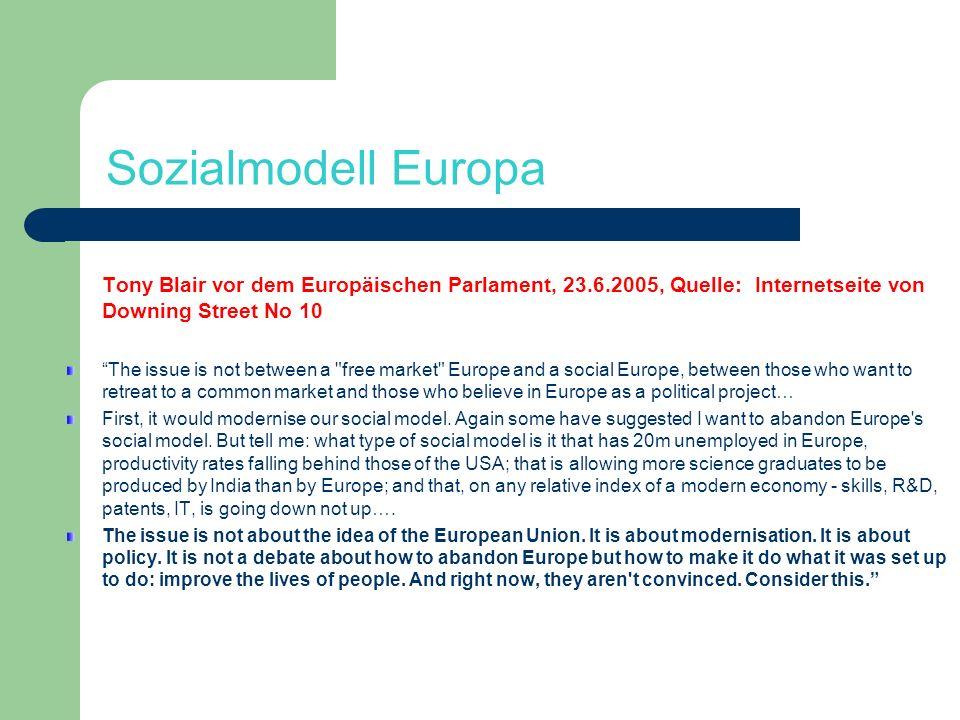 Sozialmodell Europa Tony Blair vor dem Europäischen Parlament, 23.6.2005, Quelle: Internetseite von Downing Street No 10 The issue is not between a