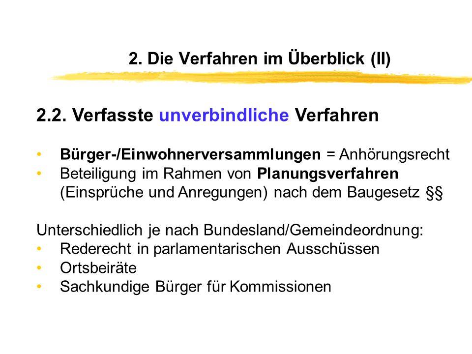 2. Die Verfahren im Überblick (I) 2.1. Verfasste und verbindliche Verfahren Personalentscheidungen (Wahlen) Bürgerinnen und Bürger entscheiden verbind