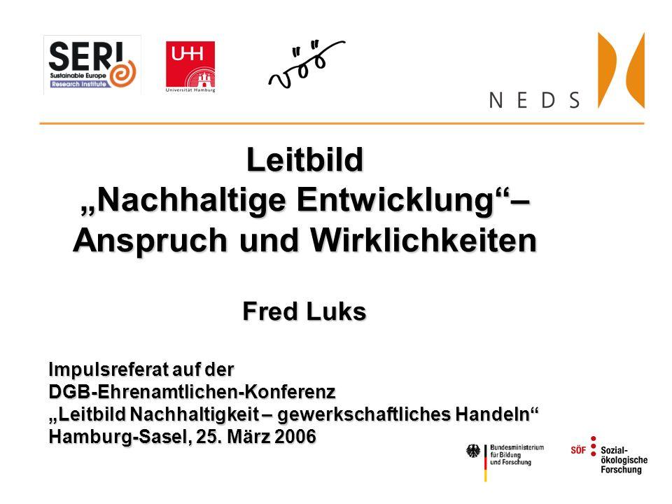 Leitbild Nachhaltige Entwicklung– Anspruch und Wirklichkeiten Fred Luks Impulsreferat auf der DGB-Ehrenamtlichen-Konferenz Leitbild Nachhaltigkeit – gewerkschaftliches Handeln Hamburg-Sasel, 25.