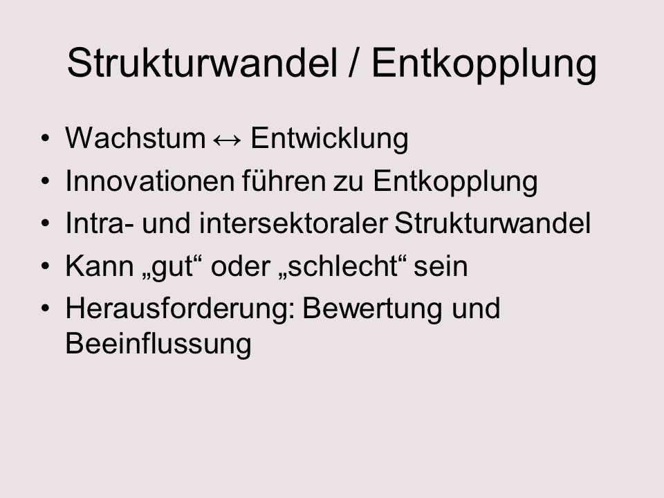 Strukturwandel / Entkopplung Wachstum Entwicklung Innovationen führen zu Entkopplung Intra- und intersektoraler Strukturwandel Kann gut oder schlecht sein Herausforderung: Bewertung und Beeinflussung