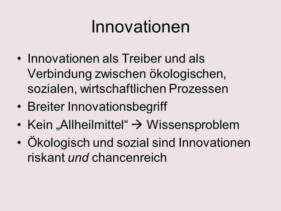 Innovationen Innovationen als Treiber und als Verbindung zwischen ökologischen, sozialen, wirtschaftlichen Prozessen Breiter Innovationsbegriff Kein Allheilmittel Wissensproblem Ökologisch und sozial sind Innovationen riskant und chancenreich