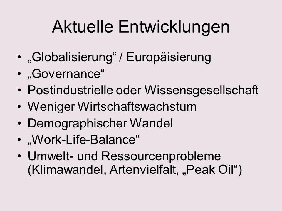 Aktuelle Entwicklungen Globalisierung / Europäisierung Governance Postindustrielle oder Wissensgesellschaft Weniger Wirtschaftswachstum Demographischer Wandel Work-Life-Balance Umwelt- und Ressourcenprobleme (Klimawandel, Artenvielfalt, Peak Oil)