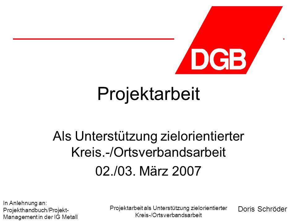 Doris Schröder In Anlehnung an: Projekthandbuch/Projekt- Management in der IG Metall Projektarbeit als Unterstützung zielorientierter Kreis-/Ortsverbandsarbeit Was ist ein Projekt .