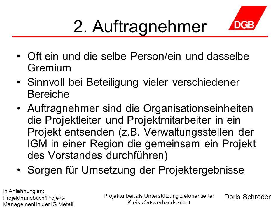 Doris Schröder In Anlehnung an: Projekthandbuch/Projekt- Management in der IG Metall Projektarbeit als Unterstützung zielorientierter Kreis-/Ortsverbandsarbeit 3.