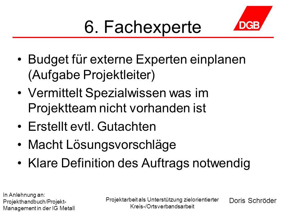 Doris Schröder In Anlehnung an: Projekthandbuch/Projekt- Management in der IG Metall Projektarbeit als Unterstützung zielorientierter Kreis-/Ortsverbandsarbeit 7.