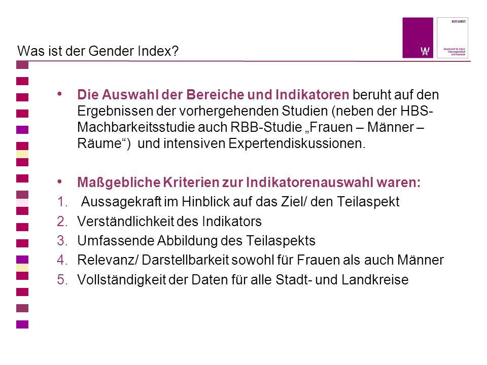 Was ist der Gender Index? Die Auswahl der Bereiche und Indikatoren beruht auf den Ergebnissen der vorhergehenden Studien (neben der HBS- Machbarkeitss