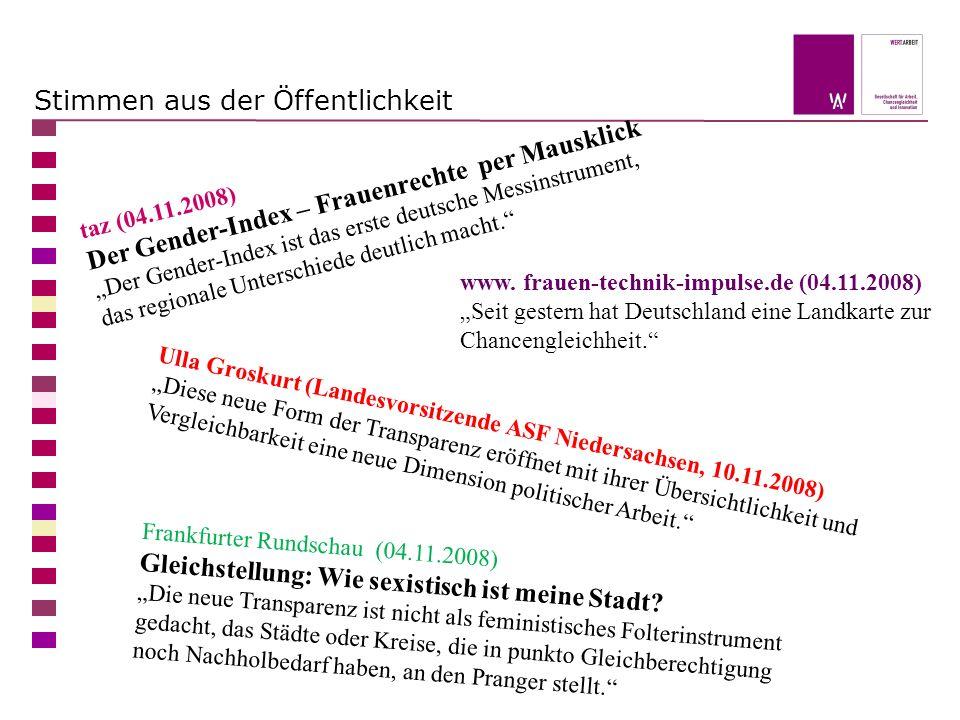 taz (04.11.2008) Der Gender-Index – Frauenrechte per Mausklick Der Gender-Index ist das erste deutsche Messinstrument, das regionale Unterschiede deutlich macht.
