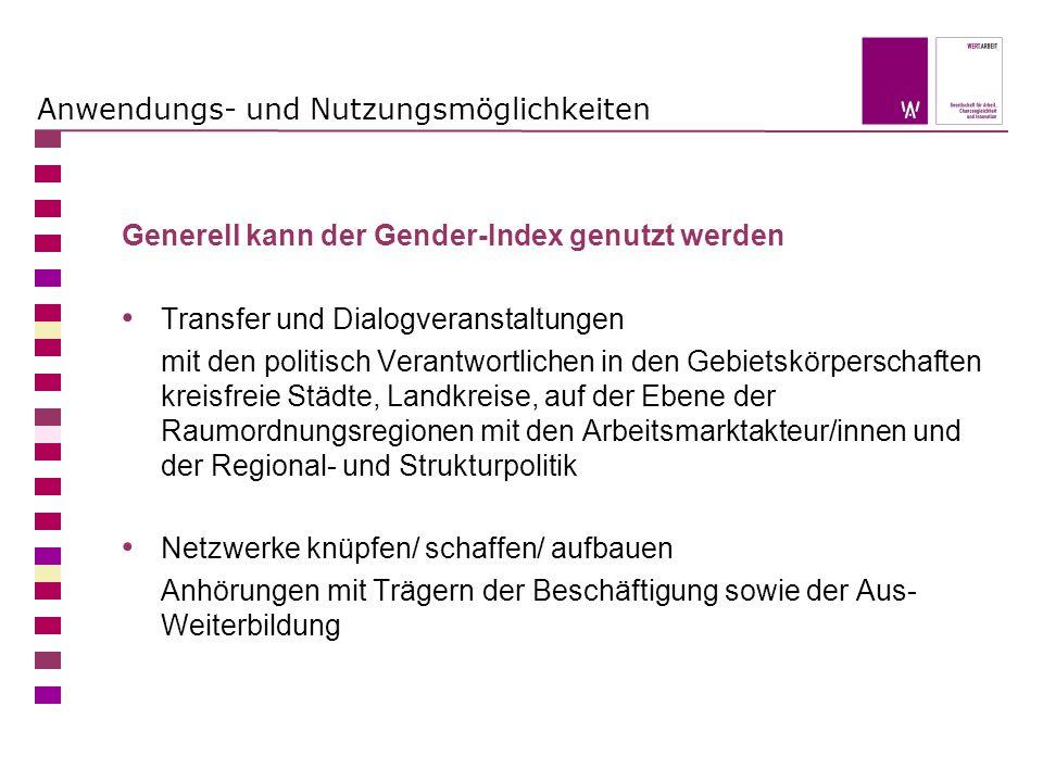 Anwendungs- und Nutzungsmöglichkeiten Generell kann der Gender-Index genutzt werden Transfer und Dialogveranstaltungen mit den politisch Verantwortlic
