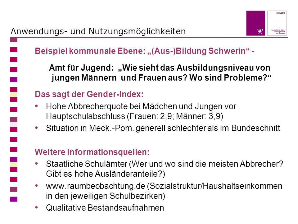 Anwendungs- und Nutzungsmöglichkeiten Beispiel kommunale Ebene: (Aus-)Bildung Schwerin - Amt für Jugend: Wie sieht das Ausbildungsniveau von jungen Mä