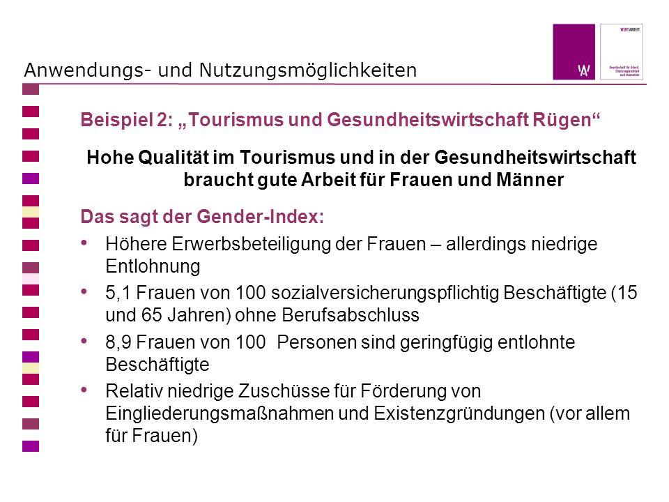 Anwendungs- und Nutzungsmöglichkeiten Beispiel 2: Tourismus und Gesundheitswirtschaft Rügen Hohe Qualität im Tourismus und in der Gesundheitswirtschaf
