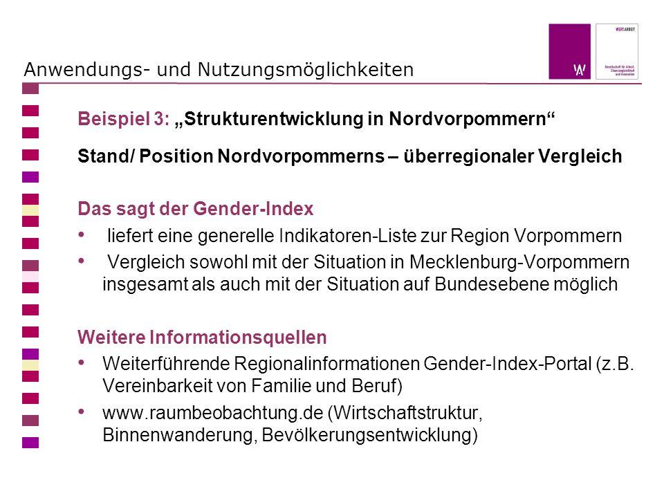 Anwendungs- und Nutzungsmöglichkeiten Beispiel 3: Strukturentwicklung in Nordvorpommern Stand/ Position Nordvorpommerns – überregionaler Vergleich Das