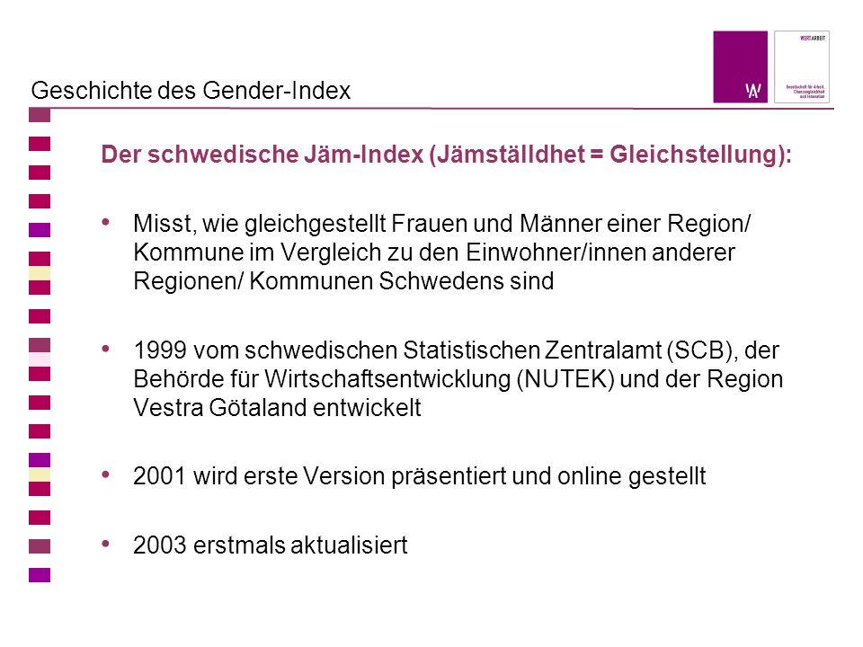 Geschichte des Gender-Index Der schwedische Jäm-Index (Jämställdhet = Gleichstellung): Misst, wie gleichgestellt Frauen und Männer einer Region/ Kommu
