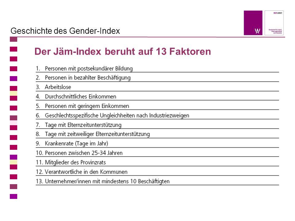 Geschichte des Gender-Index Der Jäm-Index beruht auf 13 Faktoren