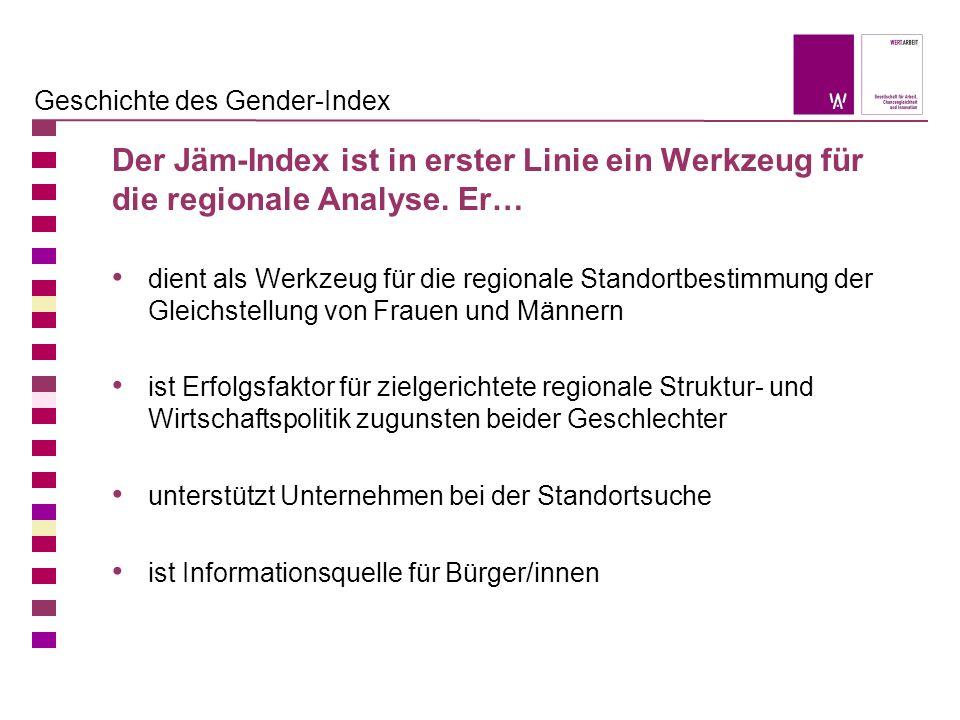 1.Regionsspezifische Sonderauswertung Auf Basis des Gender-Index Erstellung einer vertiefenden regionsspezifischen Datenanalyse Miteinbeziehung weiterführender und differenzierender Daten, z.B.