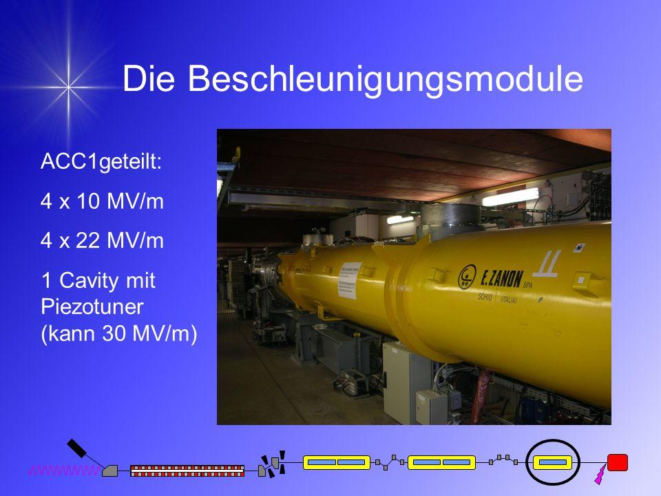 Die Beschleunigungsmodule ACC1geteilt: 4 x 10 MV/m 4 x 22 MV/m 1 Cavity mit Piezotuner (kann 30 MV/m)