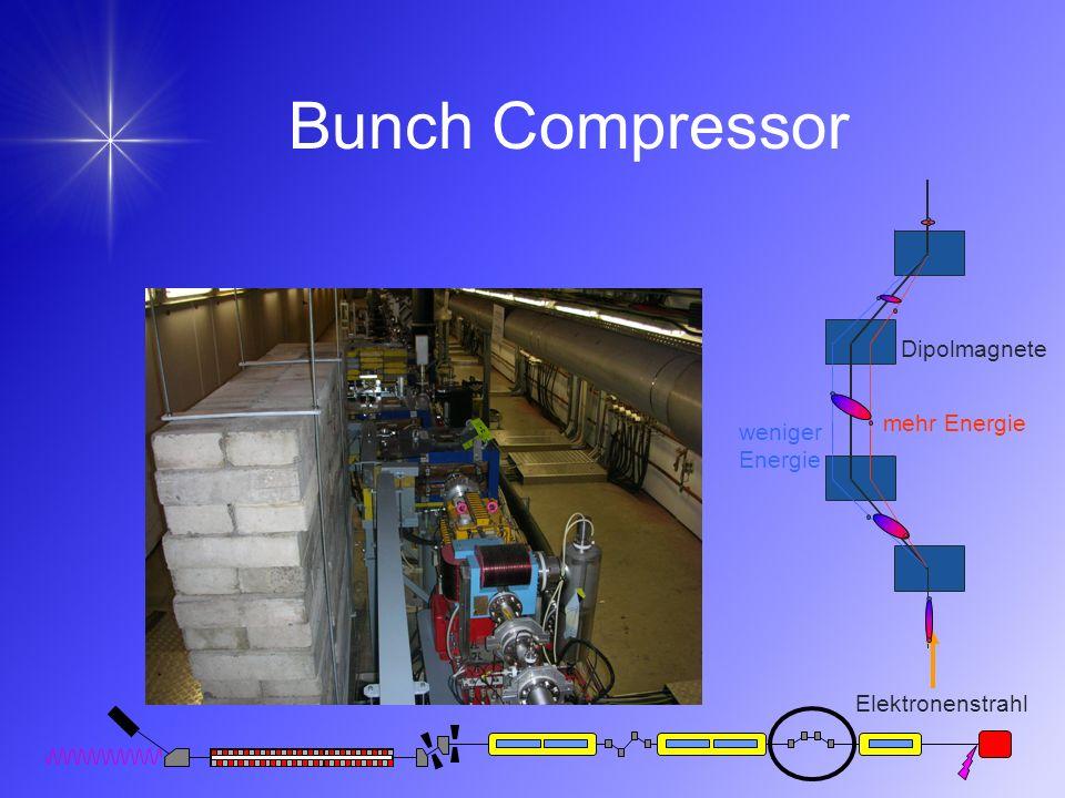 Bunch Compressor weniger Energie Dipolmagnete mehr Energie Elektronenstrahl