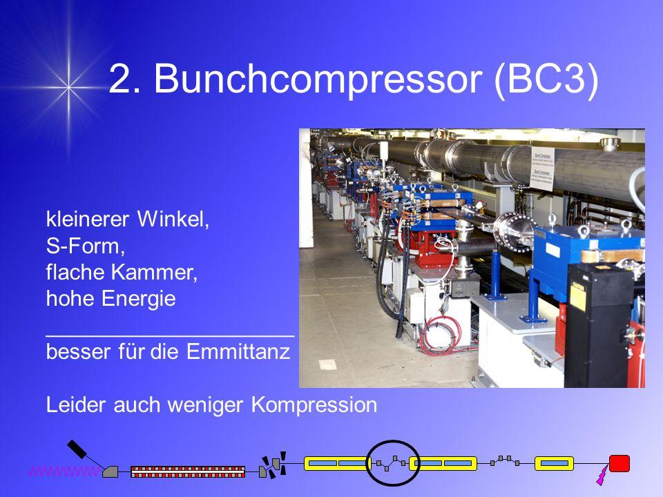 2. Bunchcompressor (BC3) kleinerer Winkel, S-Form, flache Kammer, hohe Energie ____________________ besser für die Emmittanz Leider auch weniger Kompr