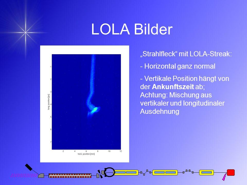 LOLA Bilder Strahlfleck mit LOLA-Streak: - Horizontal ganz normal - Vertikale Position hängt von der Ankunftszeit ab; Achtung: Mischung aus vertikaler