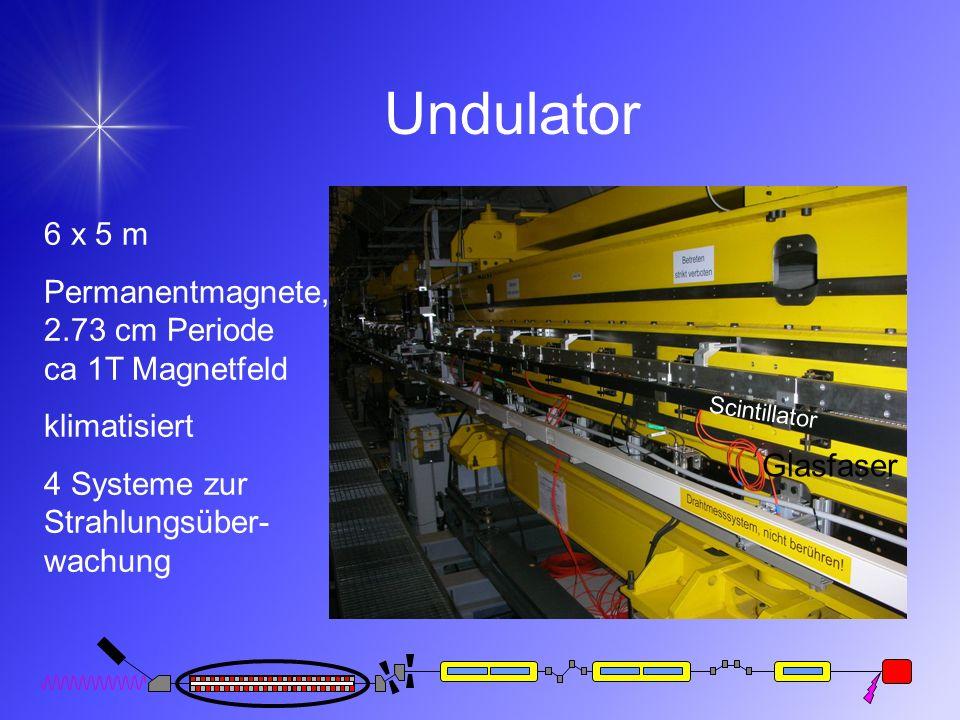 Undulator 6 x 5 m Permanentmagnete, 2.73 cm Periode ca 1T Magnetfeld klimatisiert 4 Systeme zur Strahlungsüber- wachung Scintillator Glasfaser
