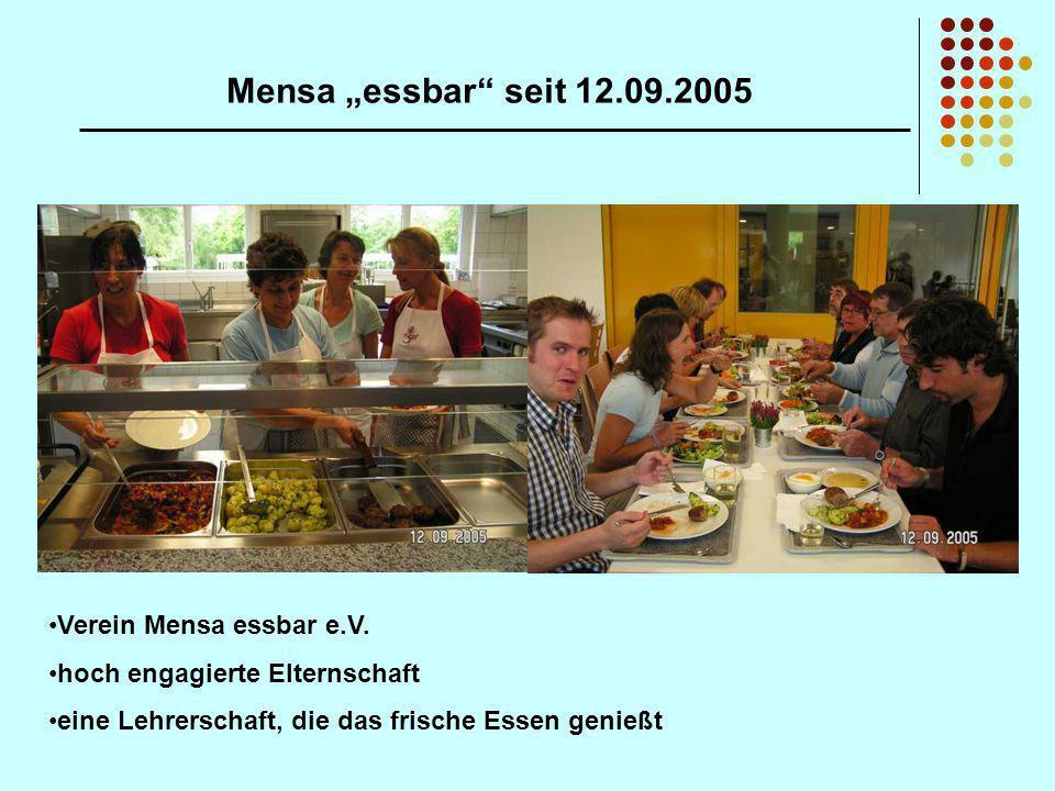 Mensa essbar seit 12.09.2005 Verein Mensa essbar e.V. hoch engagierte Elternschaft eine Lehrerschaft, die das frische Essen genießt