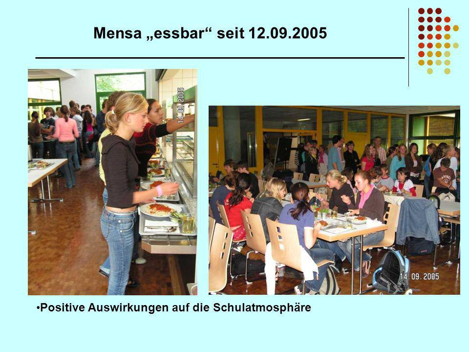 Mensa essbar seit 12.09.2005 Positive Auswirkungen auf die Schulatmosphäre