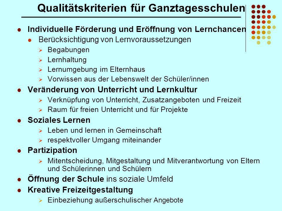 Qualitätskriterien für Ganztagesschulen Individuelle Förderung und Eröffnung von Lernchancen Berücksichtigung von Lernvoraussetzungen Begabungen Lernh