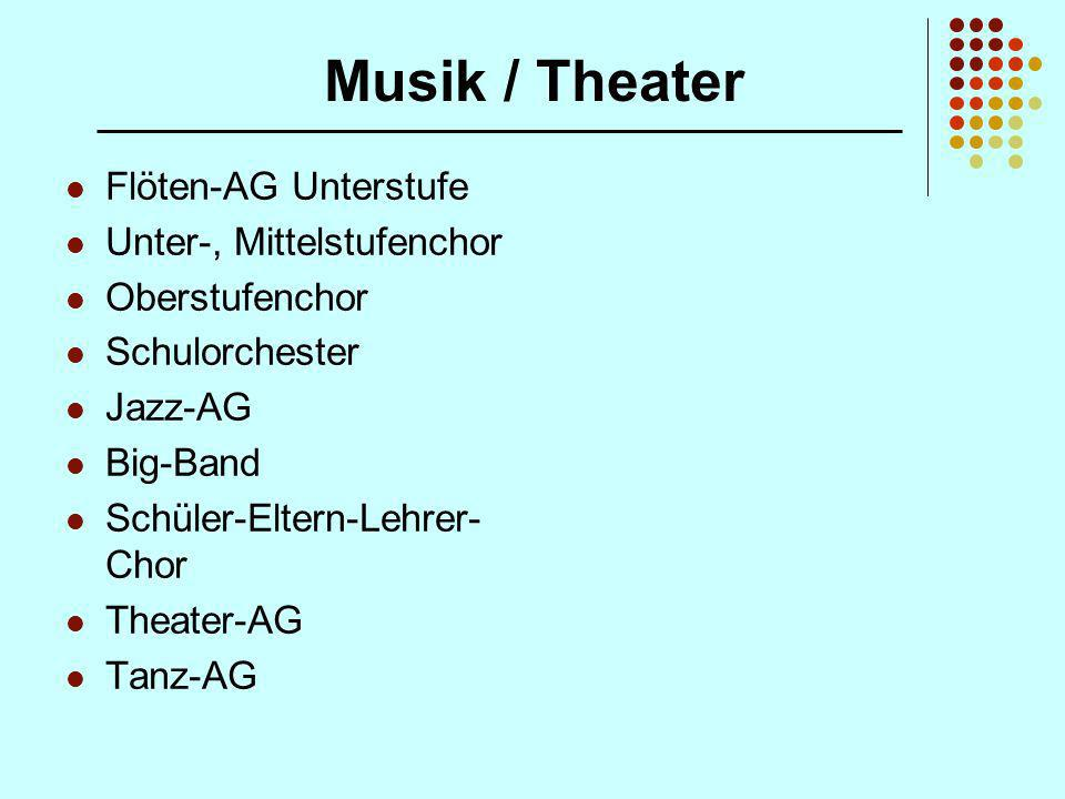 Musik / Theater Flöten-AG Unterstufe Unter-, Mittelstufenchor Oberstufenchor Schulorchester Jazz-AG Big-Band Schüler-Eltern-Lehrer- Chor Theater-AG Ta