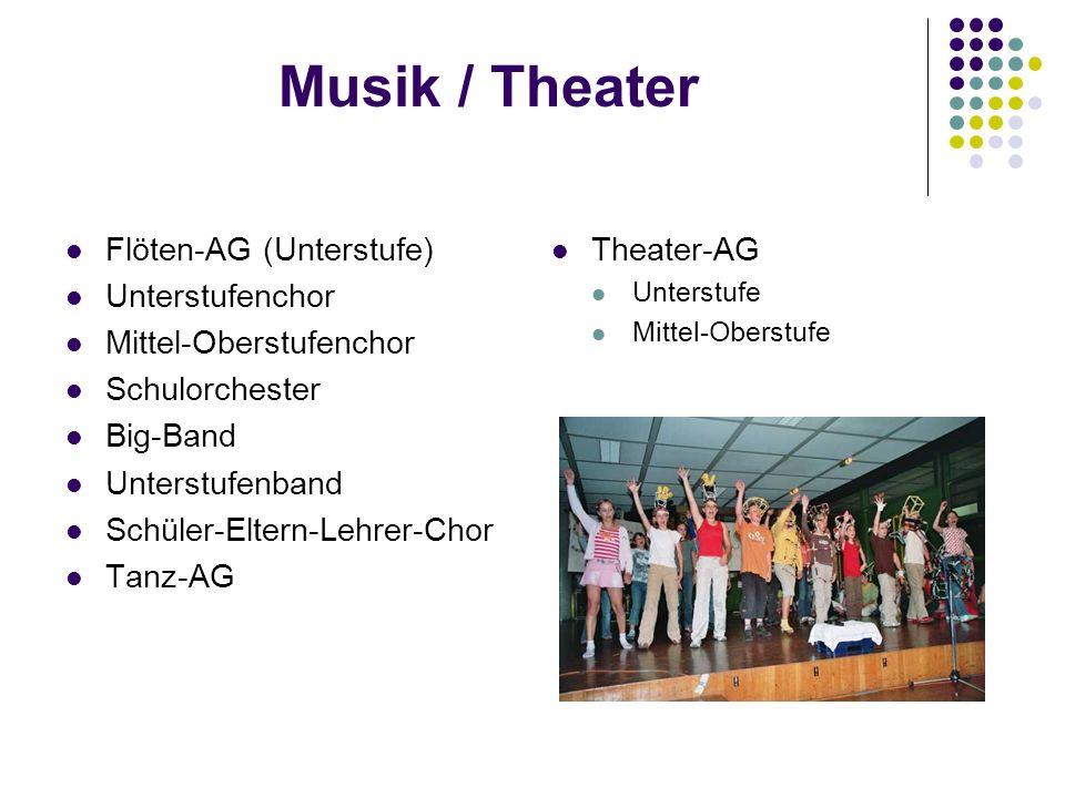 Musik / Theater Flöten-AG (Unterstufe) Unterstufenchor Mittel-Oberstufenchor Schulorchester Big-Band Unterstufenband Schüler-Eltern-Lehrer-Chor Tanz-AG Theater-AG Unterstufe Mittel-Oberstufe