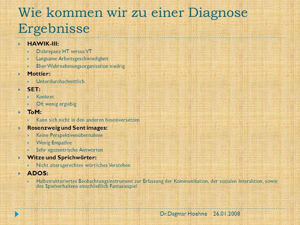 Wie kommen wir zu einer Diagnose Differentialdiagnosen ADS/ADHS Zwangsstörung Schizophrenie Hochbegabung Schwere rezeptive Sprachstörung Frühe Bindungsstörungen Dr.Dagmar Hoehne26.01.2008