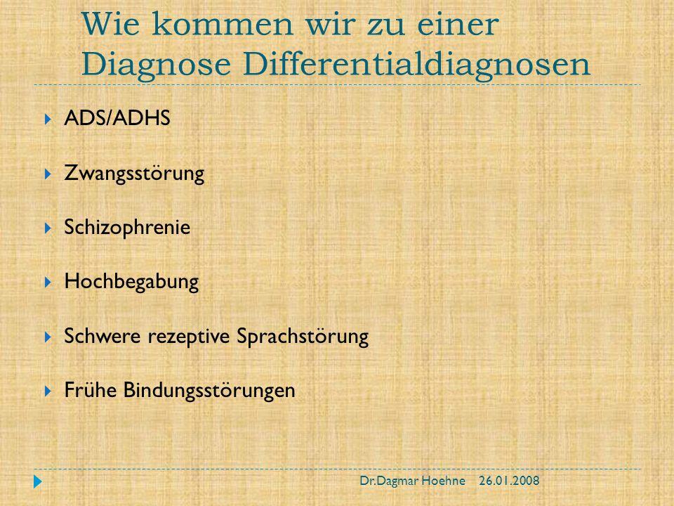 Wie kommen wir zu einer Diagnose Differentialdiagnosen ADS/ADHS Zwangsstörung Schizophrenie Hochbegabung Schwere rezeptive Sprachstörung Frühe Bindung