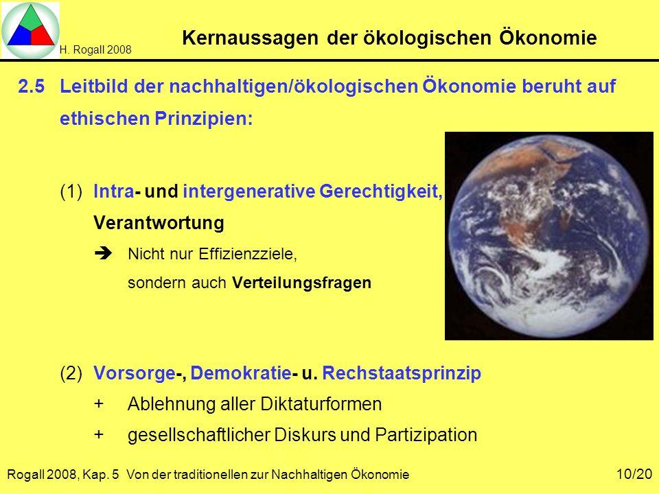 H. Rogall 2008 Rogall 2008, Kap. 5 Von der traditionellen zur Nachhaltigen Ökonomie 10/20 Kernaussagen der ökologischen Ökonomie 2.5Leitbild der nachh