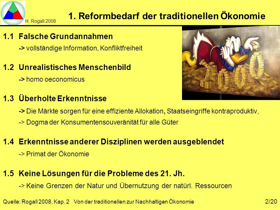 H. Rogall 2008 Quelle: Rogall 2008, Kap. 2 Von der traditionellen zur Nachhaltigen Ökonomie 2/20 1. Reformbedarf der traditionellen Ökonomie 1.1Falsch