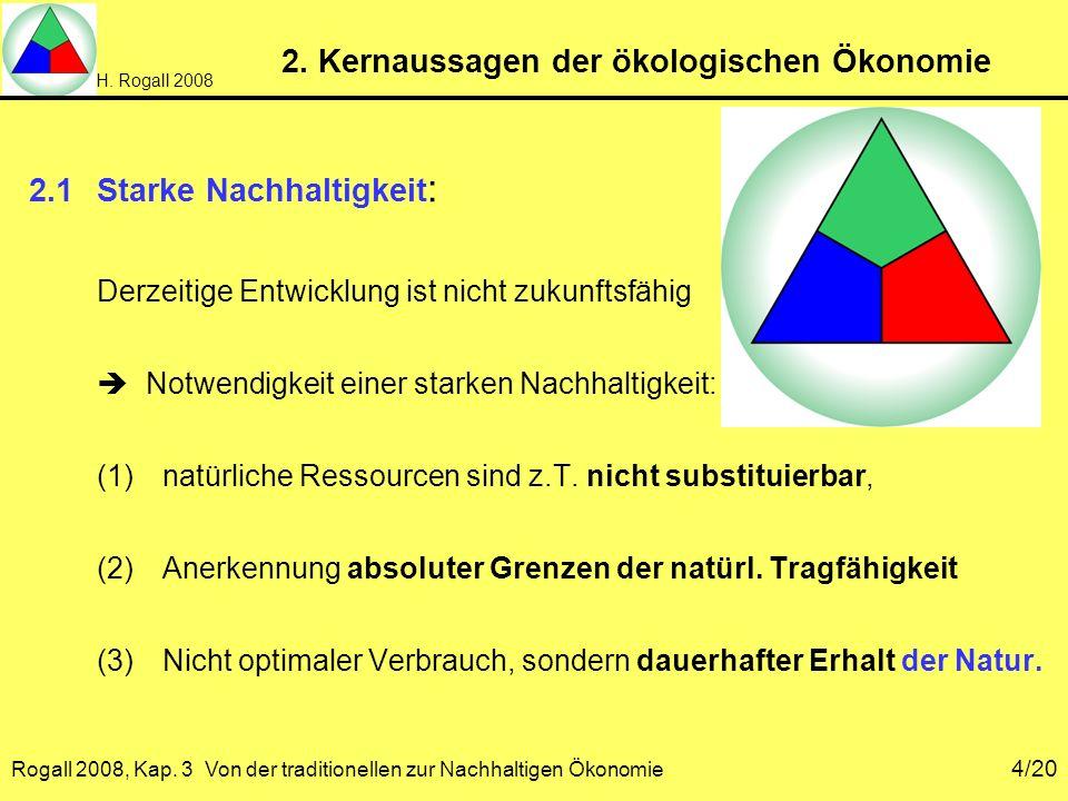 H. Rogall 2008 Rogall 2008, Kap. 3 Von der traditionellen zur Nachhaltigen Ökonomie 4/20 2. Kernaussagen der ökologischen Ökonomie 2.1Starke Nachhalti