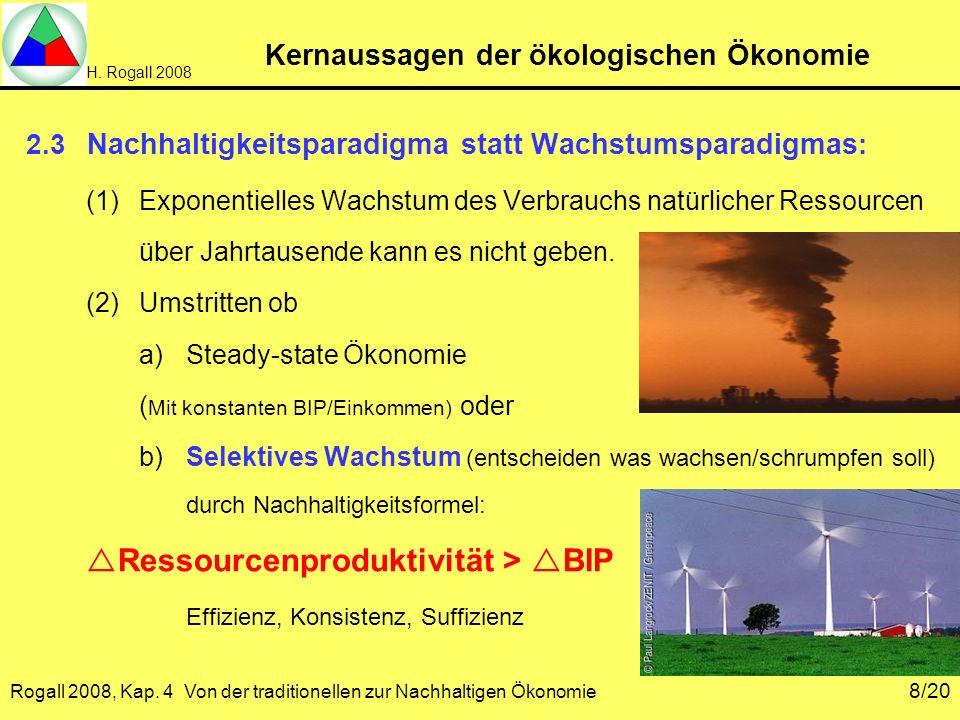 H. Rogall 2008 Rogall 2008, Kap. 4 Von der traditionellen zur Nachhaltigen Ökonomie 8/20 Kernaussagen der ökologischen Ökonomie 2.3 Nachhaltigkeitspar