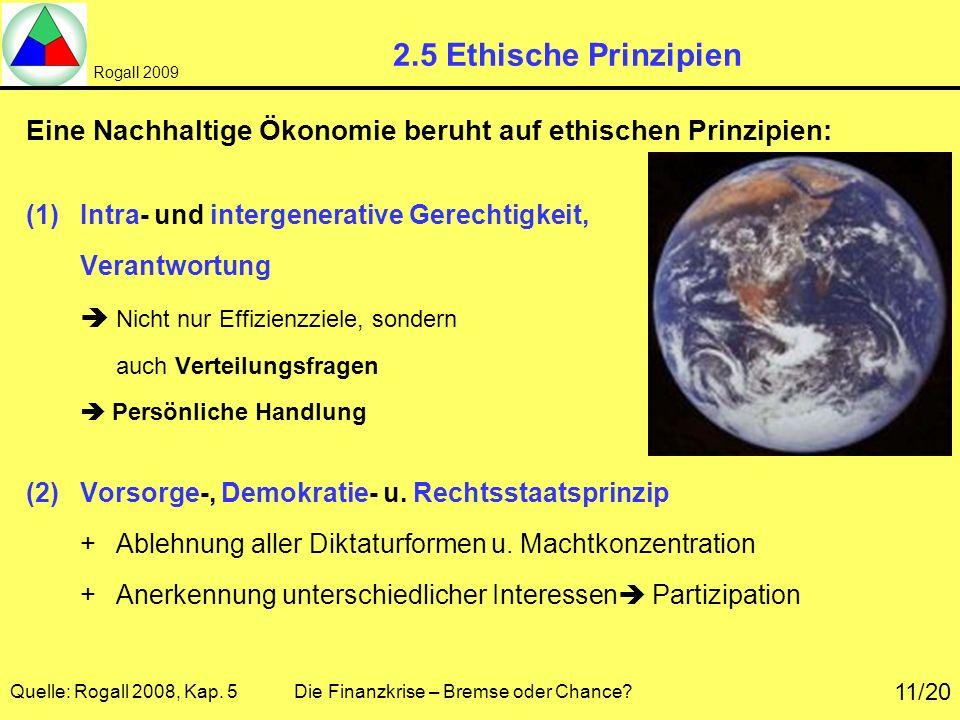 Rogall 2009 Quelle: Rogall 2008, Kap. 5 Die Finanzkrise – Bremse oder Chance? 11/20 2.5 Ethische Prinzipien Eine Nachhaltige Ökonomie beruht auf ethis