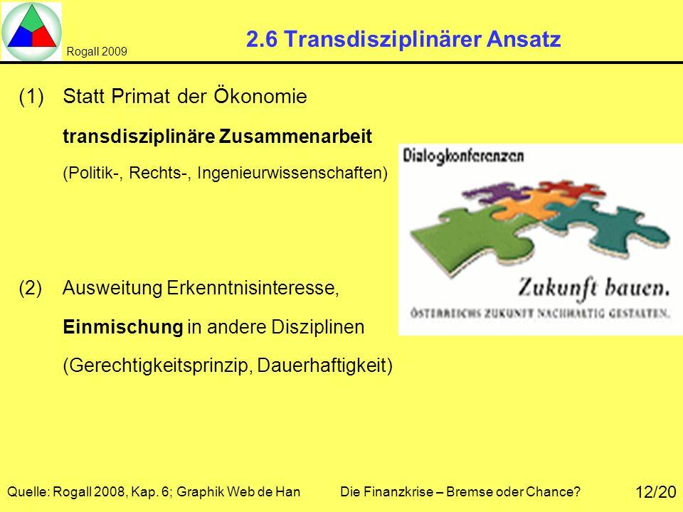 Rogall 2009 Quelle: Rogall 2008, Kap. 6; Graphik Web de Han Die Finanzkrise – Bremse oder Chance? 12/20 2.6 Transdisziplinärer Ansatz (1)Statt Primat