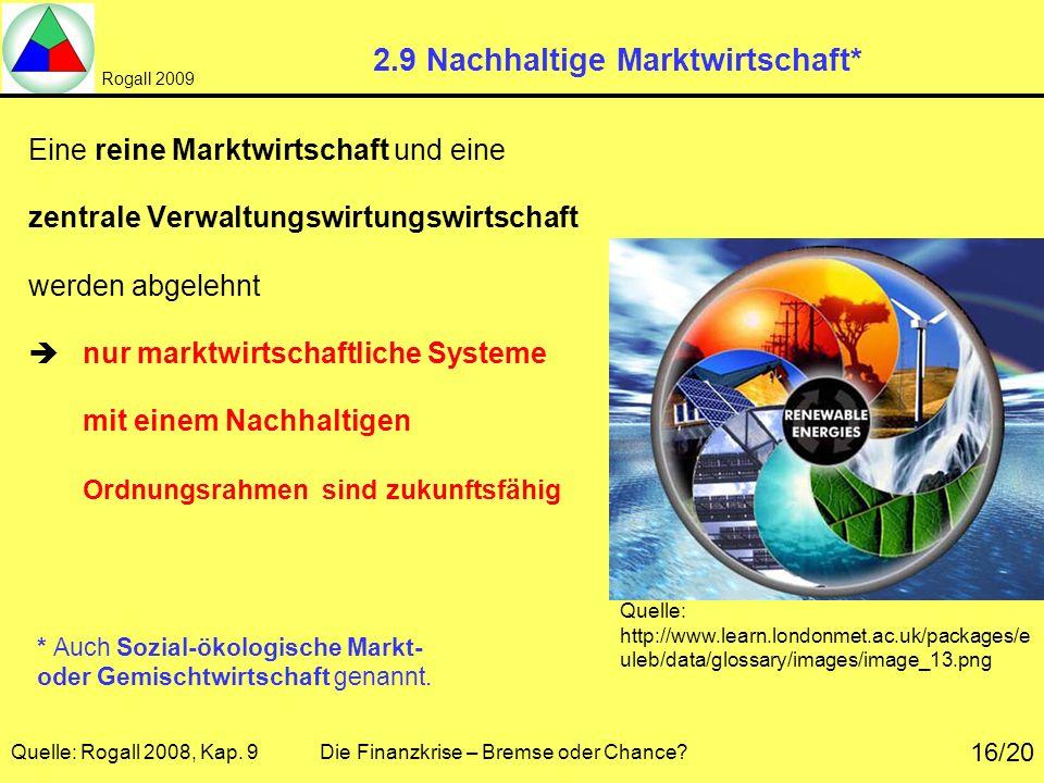 Rogall 2009 Quelle: Rogall 2008, Kap. 9 Die Finanzkrise – Bremse oder Chance? 16/20 2.9 Nachhaltige Marktwirtschaft* Eine reine Marktwirtschaft und ei