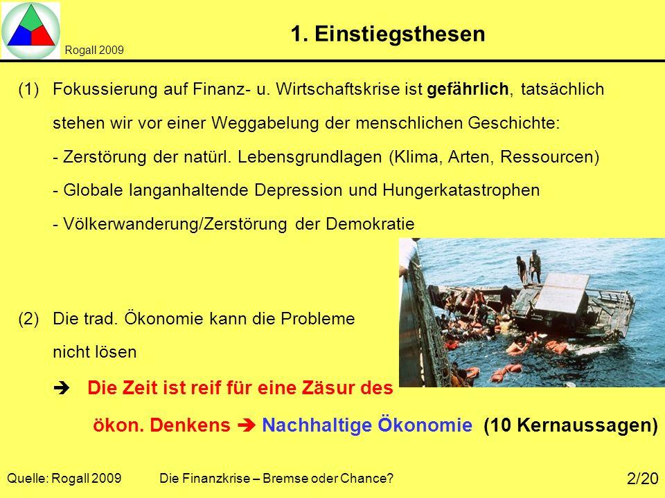 Rogall 2009 Quelle: Rogall 2009 Die Finanzkrise – Bremse oder Chance? 2/20 1. Einstiegsthesen (1)Fokussierung auf Finanz- u. Wirtschaftskrise ist gefä