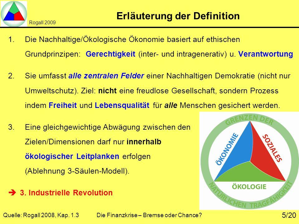 Rogall 2009 Quelle: Rogall 2008, Kap. 1.3 Die Finanzkrise – Bremse oder Chance? 5/20 Erläuterung der Definition 1.Die Nachhaltige/Ökologische Ökonomie