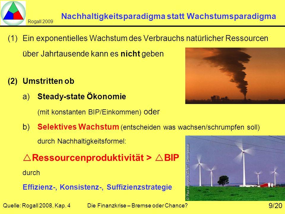 Rogall 2009 Quelle: Rogall 2008, Kap. 4 Die Finanzkrise – Bremse oder Chance? 9/20 Nachhaltigkeitsparadigma statt Wachstumsparadigma (1)Ein exponentie