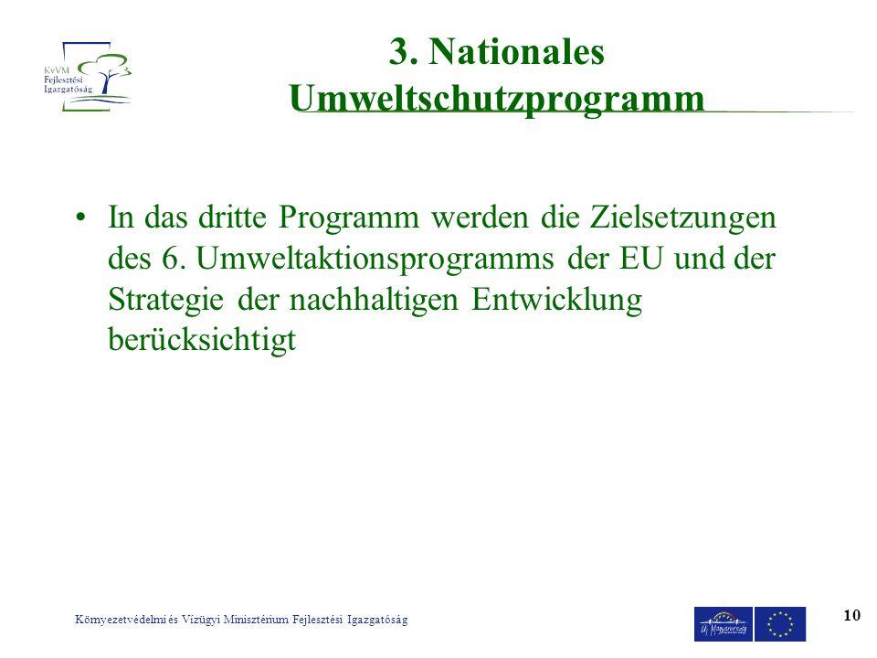 Környezetvédelmi és Vízügyi Minisztérium Fejlesztési Igazgatóság 10 3. Nationales Umweltschutzprogramm In das dritte Programm werden die Zielsetzungen