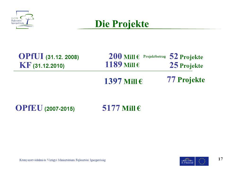 Környezetvédelmi és Vízügyi Minisztérium Fejlesztési Igazgatóság 17 Die Projekte OPfUI (31.12. 2008) KF (31.12.2010) 200 Mill 1189 Mill 52 Projekte 25