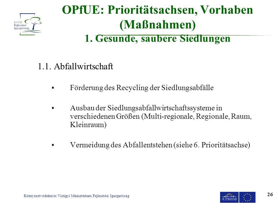 Környezetvédelmi és Vízügyi Minisztérium Fejlesztési Igazgatóság 26 OPfUE: Prioritätsachsen, Vorhaben (Maßnahmen) 1. Gesunde, saubere Siedlungen 1.1.