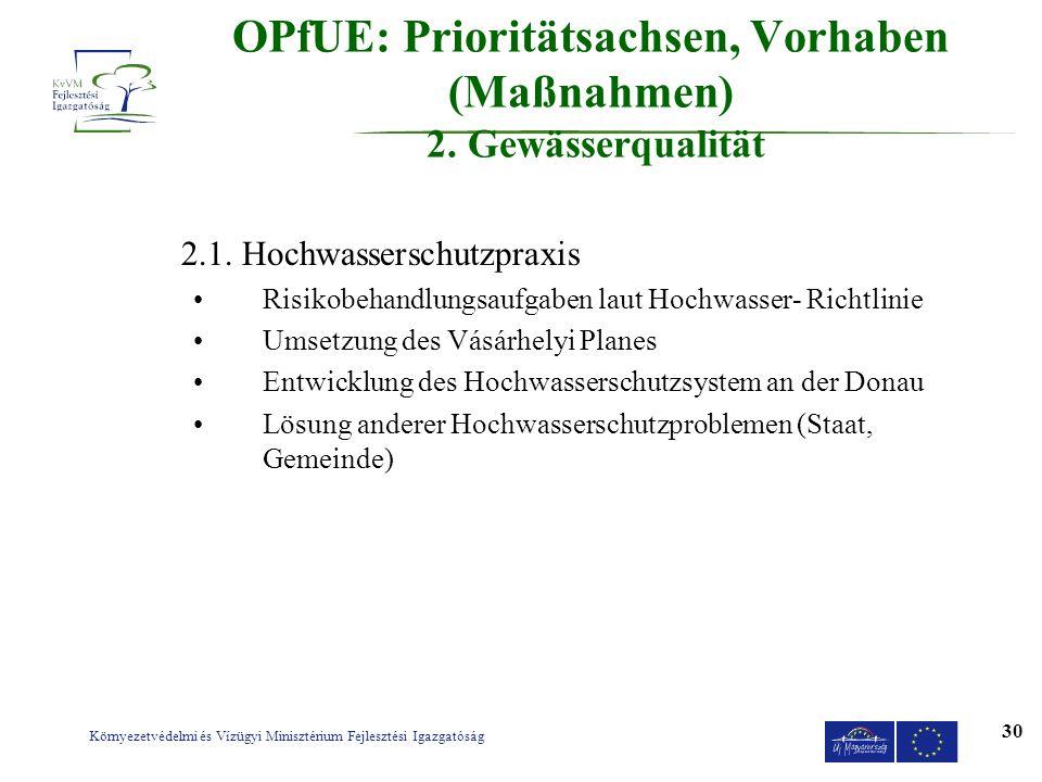 Környezetvédelmi és Vízügyi Minisztérium Fejlesztési Igazgatóság 30 OPfUE: Prioritätsachsen, Vorhaben (Maßnahmen) 2. Gewässerqualität 2.1. Hochwassers