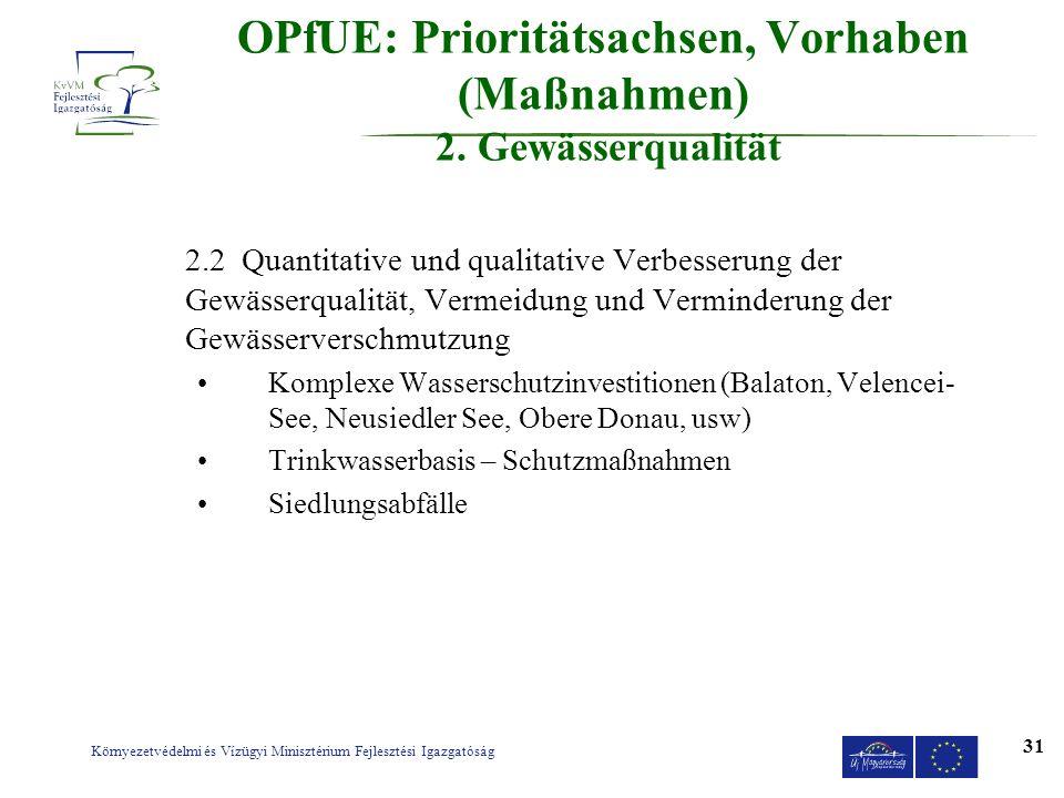 Környezetvédelmi és Vízügyi Minisztérium Fejlesztési Igazgatóság 31 OPfUE: Prioritätsachsen, Vorhaben (Maßnahmen) 2. Gewässerqualität 2.2 Quantitative