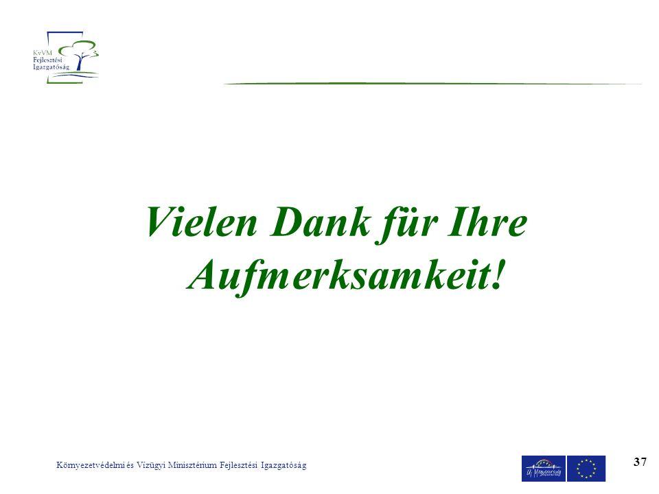 Környezetvédelmi és Vízügyi Minisztérium Fejlesztési Igazgatóság 37 Vielen Dank für Ihre Aufmerksamkeit!