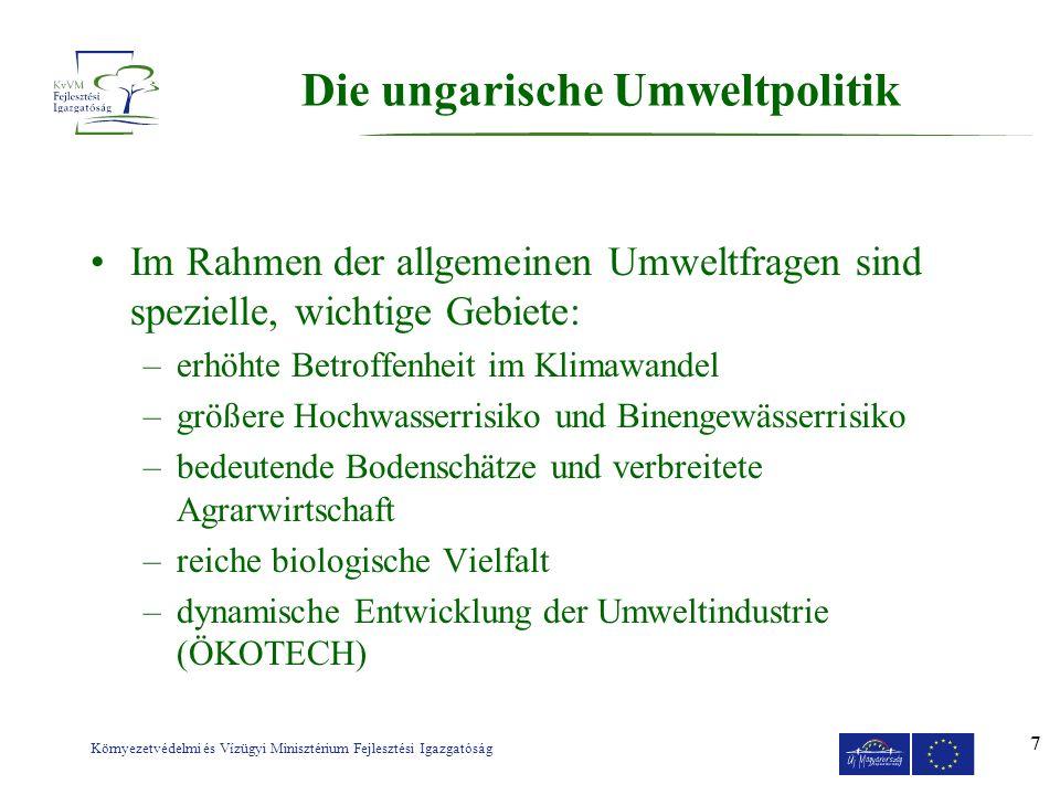 Környezetvédelmi és Vízügyi Minisztérium Fejlesztési Igazgatóság 7 Die ungarische Umweltpolitik Im Rahmen der allgemeinen Umweltfragen sind spezielle,