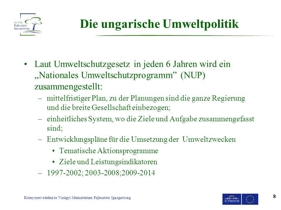 Környezetvédelmi és Vízügyi Minisztérium Fejlesztési Igazgatóság 8 Die ungarische Umweltpolitik Laut Umweltschutzgesetz in jeden 6 Jahren wird ein Nat