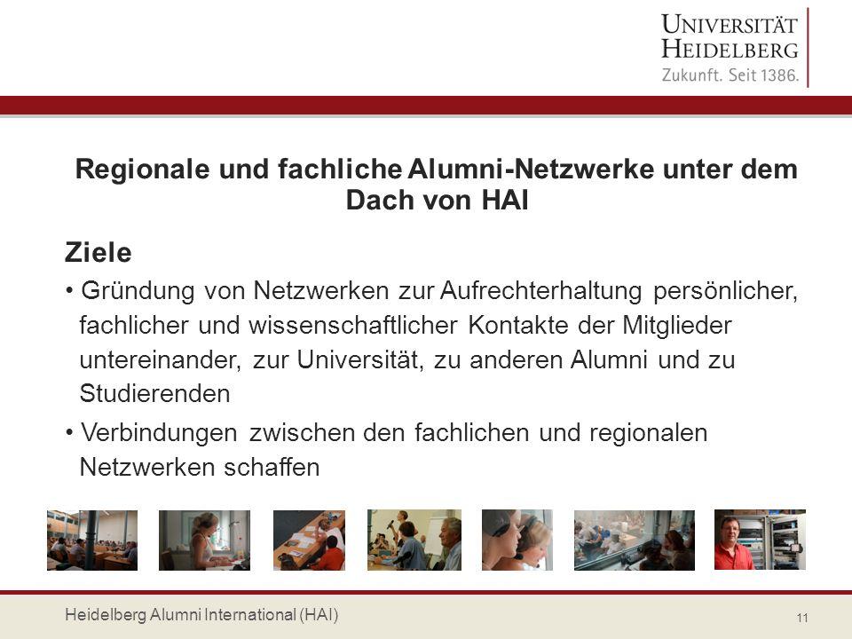 Regionale und fachliche Alumni-Netzwerke unter dem Dach von HAI Ziele Gründung von Netzwerken zur Aufrechterhaltung persönlicher, fachlicher und wisse