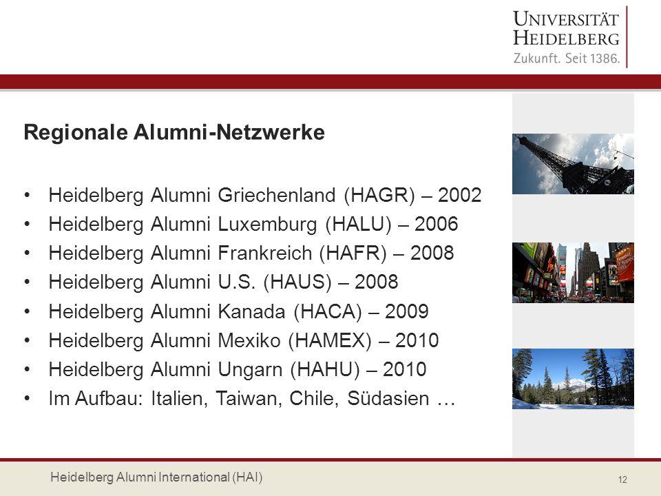 Regionale Alumni-Netzwerke Heidelberg Alumni Griechenland (HAGR) – 2002 Heidelberg Alumni Luxemburg (HALU) – 2006 Heidelberg Alumni Frankreich (HAFR)